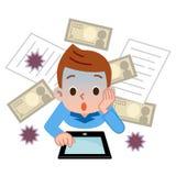 Jongen aan computervirussen dat wordt verrast Royalty-vrije Stock Afbeelding