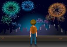 Jongen alleen bij Nieuwjaar Stock Afbeelding