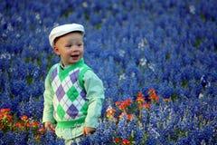 Jongen in Bluebonnets Royalty-vrije Stock Foto