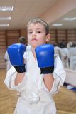 Jongen in bokshandschoenen Stock Foto