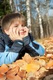 Jongen in de herfstpark royalty-vrije stock afbeeldingen