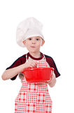 Jongen in de hoed van de chef-kok Royalty-vrije Stock Fotografie