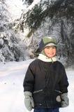 Jongen in de Winter Stock Foto
