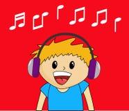 Jongen die aan Muziek luistert Stock Foto's