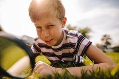 jongen die aard met vergrootglas onderzoeken stock fotografie