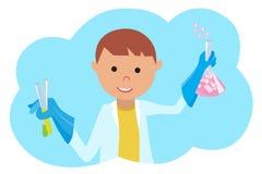 Jongen die chemisch experiment doen De jonge illustratie van wetenschapperVector op wit Royalty-vrije Stock Afbeeldingen