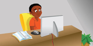Jongen die computer bestuderen stock illustratie
