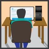 Jongen die in computer bestuderen Stock Foto's
