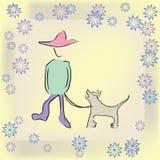 Jongen die de hond loopt Stock Foto's