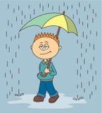 Jongen die in de regen lopen stock illustratie