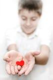 Jongen die de rode valentijnskaart van de hartliefde houdt Stock Foto