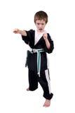 Jongen die de Uitrusting van de Karate draagt stock afbeelding