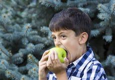 Jongen die een appel eet royalty-vrije stock fotografie