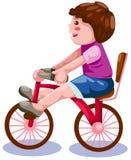 Jongen die een fiets berijdt Stock Afbeelding