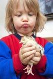 Jongen die een kuiken houdt Royalty-vrije Stock Fotografie