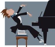 Jongen die een piano spelen royalty-vrije illustratie