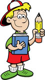 Jongen die een Potlood en een Boek houdt Stock Afbeelding