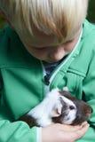 Jongen die een proefkonijn houden Stock Afbeeldingen