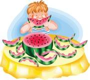 Jongen die een rijpe watermeloen eten Stock Afbeelding