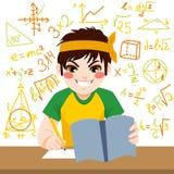 Jongen die hard bestuderen vector illustratie