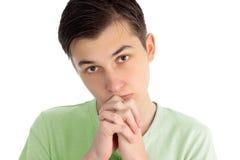 Jongen die, het bidden gedachten, het nadenken pleit royalty-vrije stock foto's