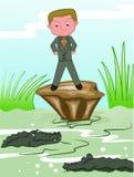 Jongen die Krokodillen in Gevaarlijk Moeras onder ogen zien royalty-vrije illustratie