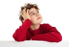 Jongen die lege raad houdt Stock Fotografie