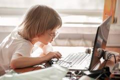 Jongen die met laptop bestuderen Royalty-vrije Stock Afbeelding