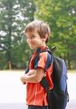 Jongen die naar School gaat Stock Foto's