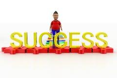 Jongen die naar Succestekst lopen Stock Foto's