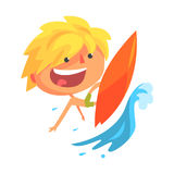 Jongen die op een grote het karakter vectorillustratie van het golfbeeldverhaal surfen Stock Afbeeldingen