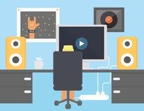 Jongen die op videoamd het luisteren muziek in zijn ruimtevector letten tegen monitor en luidsprekers Stock Fotografie