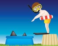 Jongen die in pool van haaien duikt vector illustratie