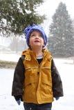Jongen die wonder van de winter ervaart stock foto's