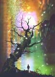 Jongen die zich onder de naakte boom met lichte hierboven bal bevinden royalty-vrije illustratie