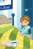Jongen die zijn bed maakt vector illustratie