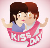 Jongen die zijn Meisje met het Lint van de Kusdag, Vectorillustratie kussen Stock Afbeeldingen