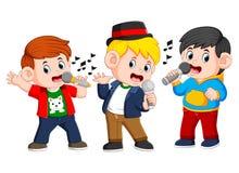 jongen drie die samen zingen vector illustratie