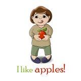 Jongen en appel Stock Foto