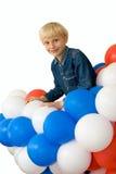 Jongen en ballons Stock Afbeeldingen