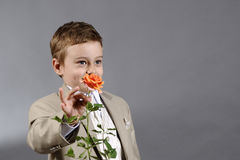 Jongen en bloem Stock Foto's