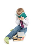Jongen en boeken Stock Afbeeldingen