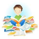 Jongen en boeken. stock illustratie