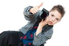 Jongen en camera Stock Afbeelding