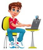 Jongen en computer. Royalty-vrije Stock Fotografie