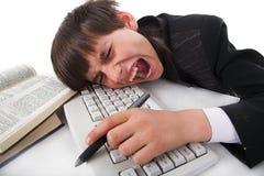Jongen en computer Stock Foto