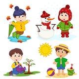 Jongen en de vier seizoenen royalty-vrije illustratie