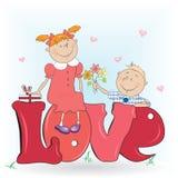 Jongen en een meisje in liefde. Stock Foto