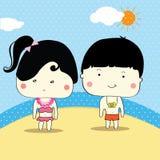 Jongen en het meisje de klaar voor zwemmen in de zomer, vector Stock Afbeeldingen