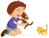 Jongen en huisdieren stock illustratie